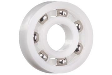 xiros® radial deep groove ball bearing, xirodur B180, stainless steel balls, cage made of PE, mm