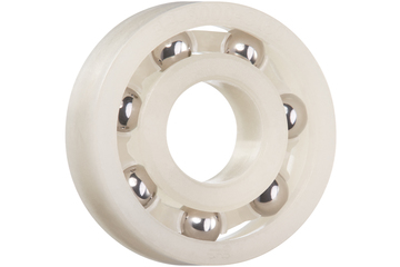 xiros® radial deep groove ball bearing, xirodur C160, stainless steel balls, cage made of PP, mm